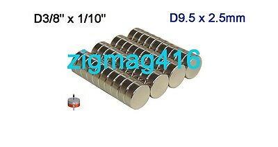 "25 pcs of N52 D3/8"" x 1/10"" Rare Earth Neodymium Disc Magnets"