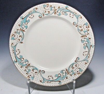 """Unique! Alfred Meakin Brierley Dinner Plate Brown/Light Turquoise Band 10""""D"""