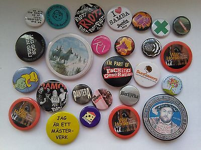 26 lot various VINTAGE  PINS BUTTONS advertising music world animals history