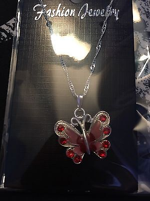Red Butterfly Necklace, Childs, Rhinestones Summer Enamel