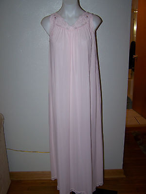 Vintage Shadowline Pink Soft Nylon Lace Sleeveless Long Nightgown S Sissy