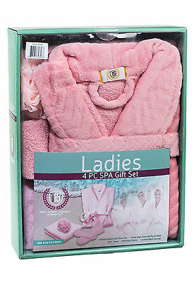 Ladies Cozy Warm Plush Fleece Kimono Bathrobe & Spa Set One Size Fits Most NWT
