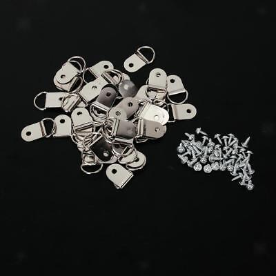 50x Silver Medium D-Ring Picture Frame Strap Hangers with Screws DIY Making