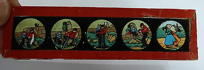 Antique Magic Lantern Slides. Hand Painted On Glass. 10 Sets