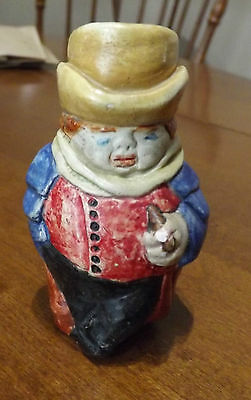Vintage Toby Jug Style Match Holder - Chalkware - Handmade and Hand Painted