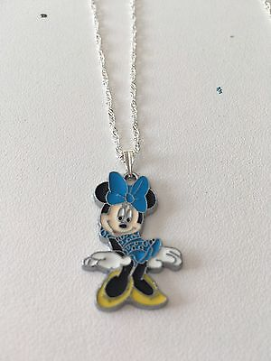 Full Body Minnie Mouse Child's Necklace Blue