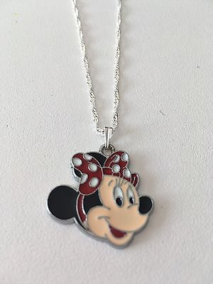 Full Face Minnie Mouse Child's Necklace Red Polka Dot Bow