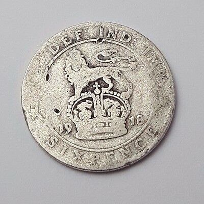 1918 - Silver - 6d / Sixpence - Great Britain - King George V - English UK Coin