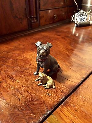 Pug French Bulldog Dog Cold Painted Bronze. Sale