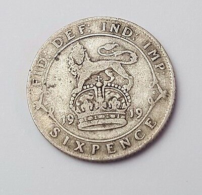 1919 - Silver - 6d / Sixpence - Great Britain - King George V - English UK Coin