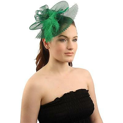 Handmade Floral Beads Feathers Removable Headband Fascinator Cocktail Hat Green