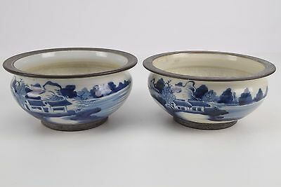 Pair of Antique Vintage China Porcelain Blue/White Incense Burner Bowls 1800s