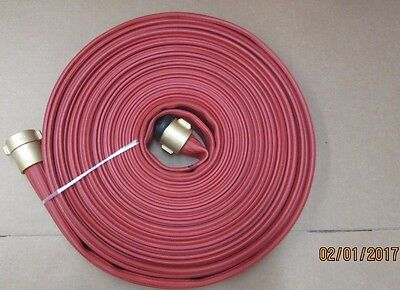"""RED Nitrile 2.5"""" x 100' Hose with Brass Couplings"""