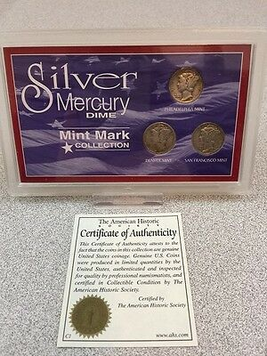 Historic Society Silver Mercury Dime Mint Mark  Coin Collection - Dimes Coins