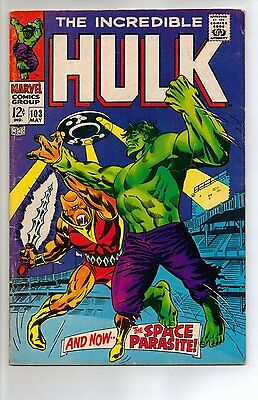 Incredible Hulk # 103 - VG/FN 5.0 - 1968 1st Appearance Space Parasite