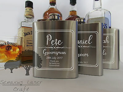 6oz silver personalised Hip Flask.grooms gift with box choice sf14