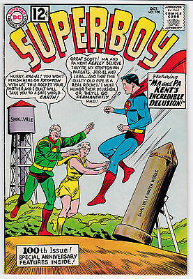 Superboy #100 F-F+ 6.25 Ma And Pa Kent's Incredible Delusion 1962!
