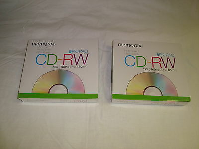 2 Memorex 5 packs CD-RW 12x 700MB 80 min HIgh Speed Discs w Jewel Cases Sealed