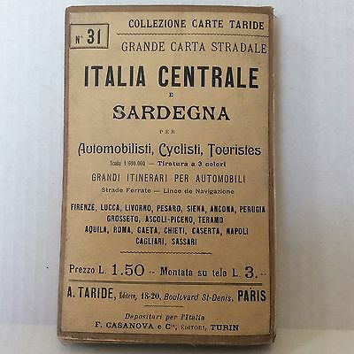 Vintage Italian Language Map of Central Italy by Taride Circa 1909 Folded Cloth