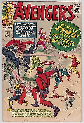 Avengers #6 VG- 3.5 Thor Iron Man Zemo And His Masters Of Evil Jack Kirby Art!