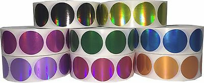 Holographic Circle Dot Stickers, 1 Inch Round, 500 Labels on a Roll, 9 Colors