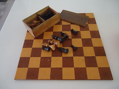 vintage wooden chess set game wooden board art deco