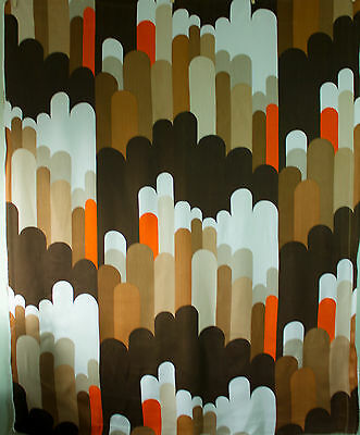 vintage 1960s Pop Art geometric lozenges print viscose interiors fabric piece