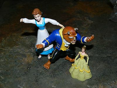 Disney's Beauty  And The Beast - Plastic Toys By Just Toys, Applause- Lot Of 3