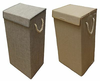 Foldable Linen Look Laundry Basket Room Storage With Lid Available In 2 Colours