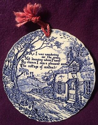 Crownford China Co. Calico Blue Staffordshire England Wall Hanging Plaque Plate