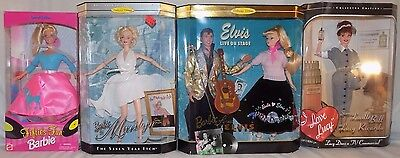 **LOT OF 4 NEW COLLECTIBLE 50s FIFTIES FUN BARBIE DOLLS- ELVIS/MARILYN/LUCY NIB*