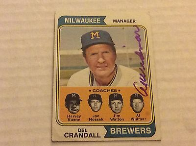 1974 Topps 99 Del Crandall Autographed Auto Signed Card
