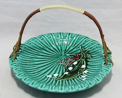 Green Majolica Schramberg Germany Handled Dish - No. 4587 - Lily of The Valley