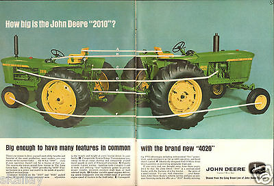 1964 2 Page Print Ad of John Deere 2010 & 4020 Farm Tractor