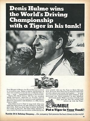 1968 Humble Oil Company Dennis Hulme Wins World's Driving Championship Tiger Ad