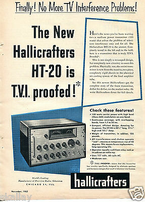 1952 Print Ad of Hallicrafters HT-20 Transmitter TVI Proofed!