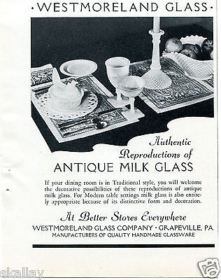 1938 Vintage Print Ad of Westmoreland Glass Co Milk Glass Grapeville PA