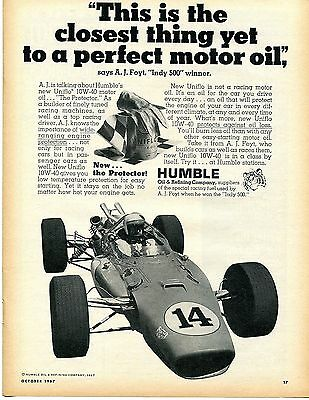 1967 Humble Uniflo Racing Motor Oil Indy 500 Winner #14 A.J. Foyt Print Ad
