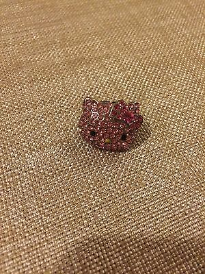 Hello Kitty Sanrio Pink Ring Silver Crystal Rhinestone Adjustable