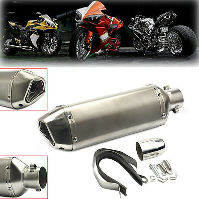 Universal 38-51mm Motorcycle Aluminum Exhaust Muffler Pipe + Removable Silencer