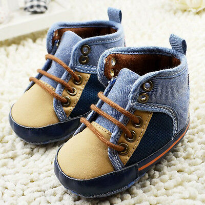 Baby Toddler Infant Boy Soft Sole Crib Shoes Canvas Fashion Prewalker 0-18 Month