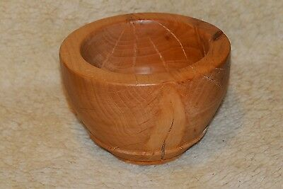 Turned Wooden Bowl with natural crackes & thickwall