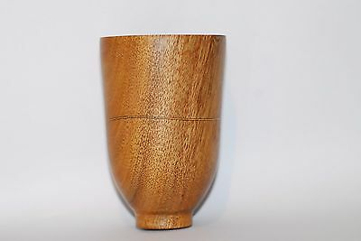 Turned Blackwood Small Vase with Wave Curve Inlay