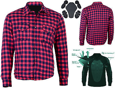 M'rcycle Cotton Flannel L'berjack Shirt Lined WITH DuPont™ KEVLAR® ARAMID MAROON