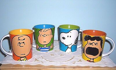 Set Of 4 Peanuts Ceramic Snoopy & Peanuts Gang Coffee Mugs Cups ~ New & Awesome
