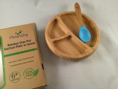 AVANCHY BAMBOO Divided Plate Dish Bowl Spoon BLUE Stay Put Suction NEW