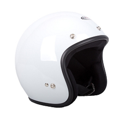 Large Open Face Rxt A611C Low-Ride Helmet, Plain White, Studs,as1698 Approved