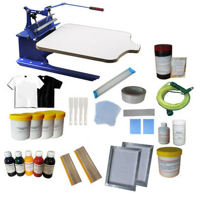 1 Color 1 station Screen Printing Kit DIY Full Supplies Platen Adjustable Press