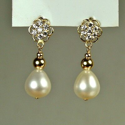 14k solid y/gold high quality10x9mm natural Freshwater Pearl earrings screw back