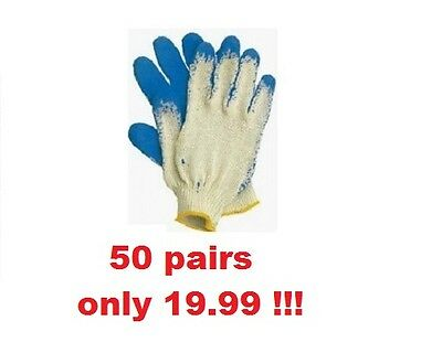 50 Pairs Latex Coated Blue Rubber Work Gloves Builder Gardening Safety Cheapest